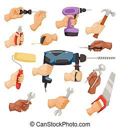 stijl, vector, bouwsector, handen, gereedschap, spotprent