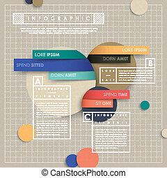 stijl, vector, collage, papier, infographic, communie