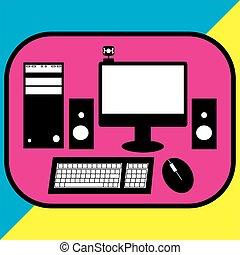 stijl, vector, kleur, illustratie, desktop computer