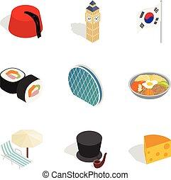 stijl, verscheidenheid, iconen, set, isometric, cultureel