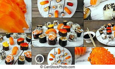 stijl, voedingsmiddelen, sushi, -, japanner, fris
