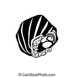 stijl, voedingsmiddelen, symbool, sushi, vrijstaand, illustratie, achtergrond., vector, black , monochroom, witte , pictogram