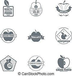 stijl, voedingsmiddelen, vegan, set, logo, eenvoudig