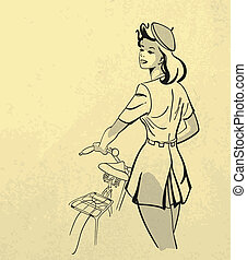 stijl, vrouw, fiets, jonge, retro