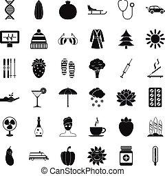stijl, vrouw, iconen, set, eenvoudig, pil