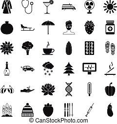 stijl, vrouw, iconen, set, eenvoudig, surfing