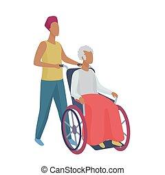 stijl, vrouw, illustration., wheelchair, jonge, vector, man, senior, voorzichtig, abstract, vrijwilliger