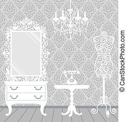 stijl, vrouw, kamer, ouderwetse , boudoir