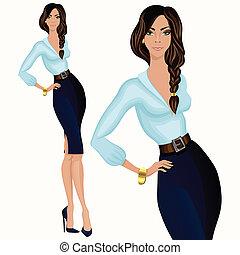 stijl, vrouw, ongedwongene handel, aantrekkelijk