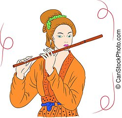 stijl, vrouw, oosters, spelend, tekening, painting., illustratie, woman., vrijstaand, fluit, vector, achtergrond., hand, aziaat, mooi, witte