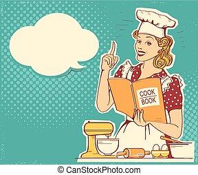 stijl, vrouwenholding, room., ouderwetse , het koken, jonge chef, vector, retro, achtergrond, cook, kleren, boek, keuken