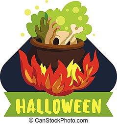 stijl, vuur, halloween, ketel, spotprent, logo