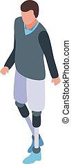 stijl, wandelende, geamputeerd, isometric, man, pictogram, benen