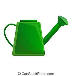 stijl, watering, groene, groenteblik, pictogram, spotprent
