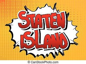 stijl, wo, eiland, -, staten, boek, komisch