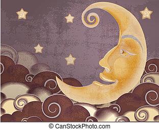 stijl, wolken, maan, illustratie, retro, sterretjes, helft