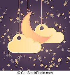 stijl, wolken, maan, sterretjes, achtergrond, spotprent