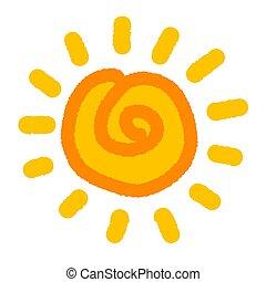 stijl, zon, hand, kind, getrokken, pictogram