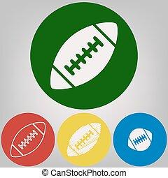 stijlen, cirkels, gekleurde, grijs, eenvoudig, licht, voetbal, achtergrond., amerikaan, 4, vector., witte , ball., pictogram