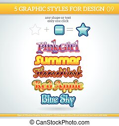 stijlen, gevarieerd, grafisch, set, design.