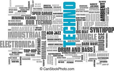 stijlen, woord, elektronisch, boompje, vector, muziek,...