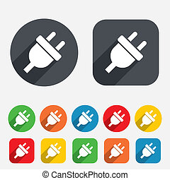 stik, elektrisk magt, energi, symbol., tegn, icon.