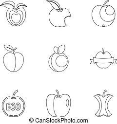 stil, äpple, sätta, logo, ikon, skissera