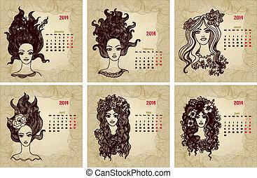 stil, årgång, 1, calendar., vektor, år, 2014, del