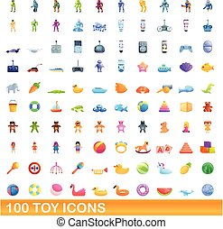 stil, 100, leksak, ikonen, sätta, tecknad film
