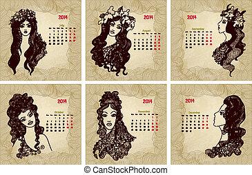 stil, 2014, årgång, calendar., vektor, år 2, del