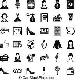 stil, affärskontor, ikonen, sätta, enkel