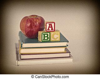 stil, alfabet, kvarter, äpple, sepia, barns böcker