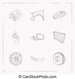 stil, auto, web, symbole, heiligenbilder, app, beweglich, dein, stoßstange, logo, satz, andere, radkappe, linie, auto, design., rahmen