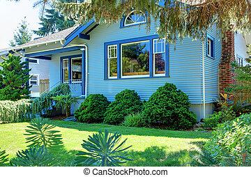 stil, bak, hus, hantverkare, träd, blå, gammal
