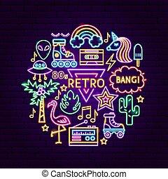 stil, begrepp, neon, retro