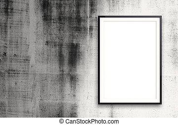 stil, begrepp, väggen inramar, nymodig, komposition, tom