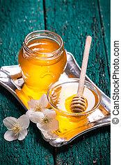 stil, Blomstrar, gammal, Trä, honung, bord, Årgång
