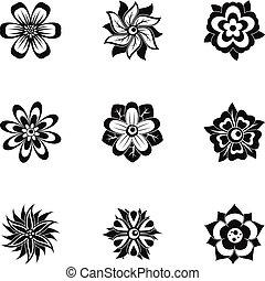 stil, blume, satz, einfache , schwarz, ikone
