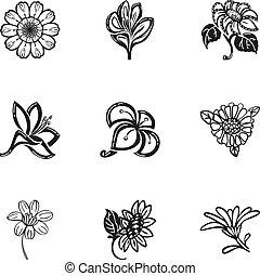 stil, blume, satz, tropische , einfache , ikone