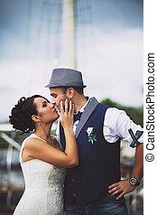 stil, bröllop, Ömhet