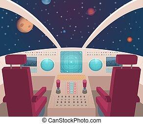 stil, cockpit., innenseite, abbildung, raumschiff, schiffchen, vektor, armaturenbrett, inneneinrichtung, karikatur, tafel