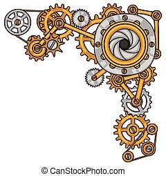 stil, collage, steampunk, metall, zahnräder, gekritzel
