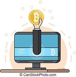 stil, currency., crypto, coin., fästen, bitcoin, lägenhet, övervaka, hand, gruvdrift, begrepp