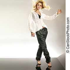 stil, dansande, foto, attraktiv, blondin, mod