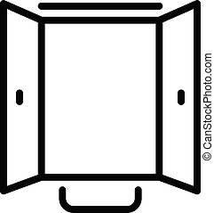 stil, dubbel, öppen dörr, ikon, skissera
