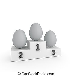 stil, eier, -, grau, podium, sieg, schablone