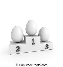stil, eier, -, podium, sieg, schablone, weißes