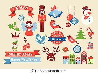 stil, elementara, märken, etiketter, ikonen, retro, god jul, illustration