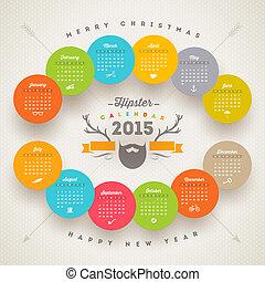 stil, elementara, vektor, hipster, mall, 2015, kalender