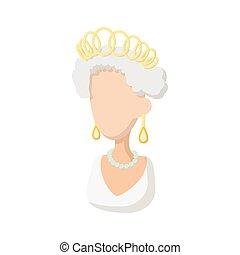 stil, elizabeth, drottning, brittisk, ii, ikon, tecknad film